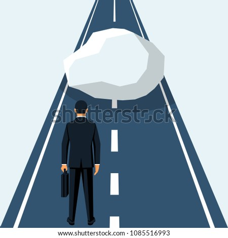 Businessman obstacle concept. Hurdle on way. Overcoming obstacle on road people. Achieving goal. Vector illustration flat design. Barrier on way to success. Businessman stands in front big stone.