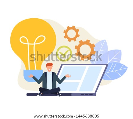 Businessman office worker character having good fresh idea. Vector flat cartoon graphic design illustration