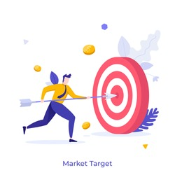 Businessman, office worker or clerk poking center of shooting target with arrow. Concept of market goal achievement, financial aim, business objective. Modern flat colorful vector illustration.