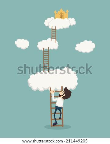 businessman on a ladder above