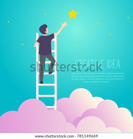 businessman on a ladder to pick