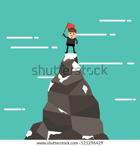 businessman on a mountain peak