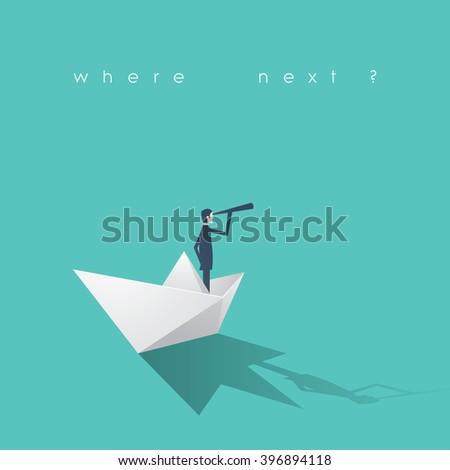 Businessman on a paper boat vector illustration. Business concept of success, mission, risk. Eps10 vector illustration.