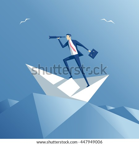 businessman on a paper ship in