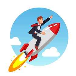 businessman on a rocket, flies into the sky, business acumen. Flat style vector illustration clipart.