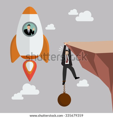 businessman on a rocket fly