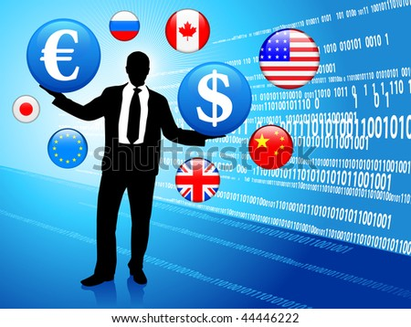 Businessman on Economic background with internet flag buttons Original Vector Illustration