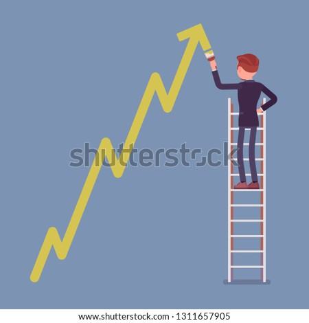 Businessman on ladder drawing positive dynamics climbing arrow. Successful male manager showing sale progress, optimistic and right direction, business profit growth presentation. Vector illustration