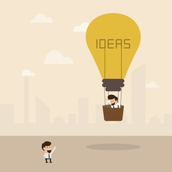 Businessman on lightbulb idea