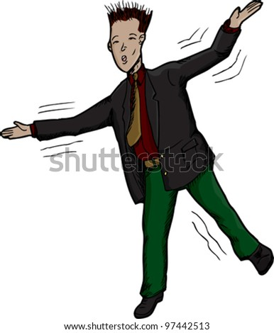 Businessman on one foot losing balance with arms up