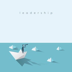 Businessman on paper boat on the sea with icebergs. Symbol of business risk and leadership. Eps10 vector illustration.