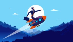 Businessman on rocket in landscape - Man flying on spaceship up hill in high speed with landscape in background. Boost your business, startup growth and progress concept. Vector illustration.