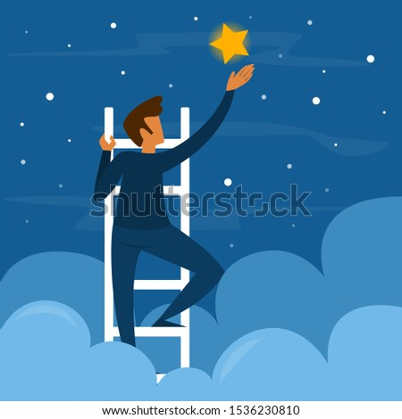 businessman on stairs reaching