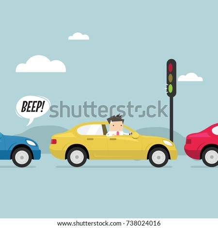 Businessman on the road with traffic jam, Green traffic light, honk a horn. vector