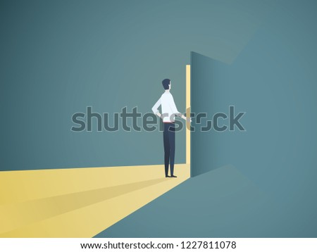 Businessman opening door vector concept. Symbol of new career, opportunities, business ventures and challenges. Eps10 vector illustration.