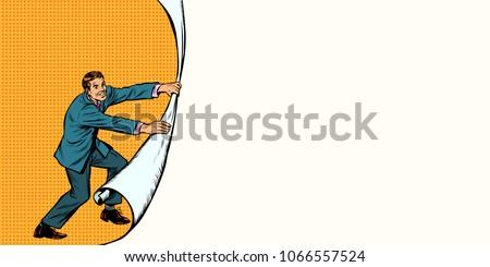 Businessman opens a curtain background. Pop art retro vector illustration comic cartoon vintage kitsch