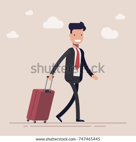 Businessman or a manager comes with a suitcase for traveling. Large briefcase on wheels. The concept of the beginning of travel. Flat vector illustration in cartoon style.