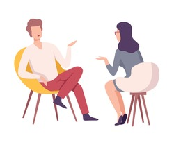 Businessman or Celebrity Character Sitting on Chair and Giving an Interview to Female Journalist with Microphone at Press Conference, Live Report Flat Vector Illustration