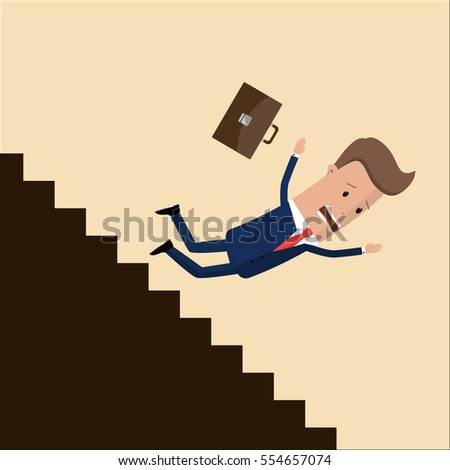 businessman or manager fall down of career ladder, or business. business concept.  Vector, illustration Stock photo ©
