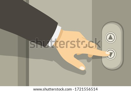 Businessman or manager hand pressing elevator button. Lift call buttons panel. Flat vector illustration.