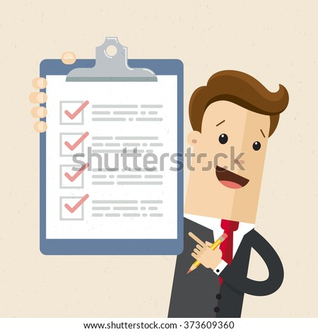 Businessman or manager. Illustration of business plan. A man in a suit shows a business plan. Vector, EPS 10