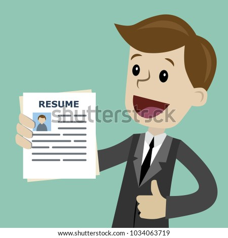 Businessman or manager in the suit holding resume for job hiring. Man with halo over his head, the best employee