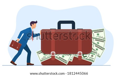 businessman or manager pushes a huge suitcase or briefcase with money. The concept of theft or bribery. Vector illustration in flat style. Foto stock ©