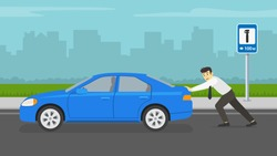 Businessman or manager pushing a broken car on city road. Summer time. Flat vector illustration.