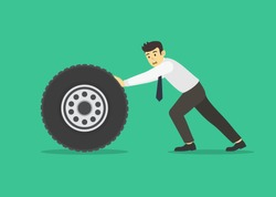 Businessman or manager pushing a car wheel. Flat vector illustration.