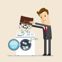 Businessman or manager shakes out  money from his portfolio into washing machine. Dirty money, laundering of money. Vector, illustration, flat