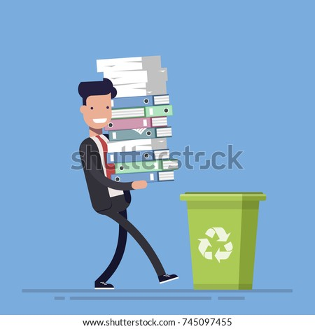 Businessman or manager throws paper documents into a trash can. The concept of rejection of paper carriers. Vector illustration in cartoon flat style.