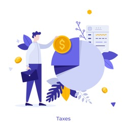 Businessman or office worker standing beside pie chart and holding dollar coin. Concept of taxpayer and tax burden, taxation, fiscal policy, budget planning. Modern flat colorful vector illustration.