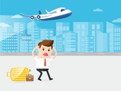 businessman or passenger late to missed the flight. plane flying on blue sky background