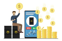 Businessman or trader sell and buy petroleum on smartphone. Business person sitting on oil barrels. Big money profit. Commodity market app on cellphone, technology mobile trading. Vector illustration