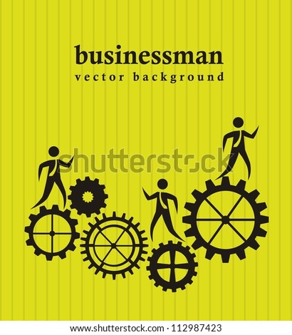 businessman over gears over green background. vector illustration