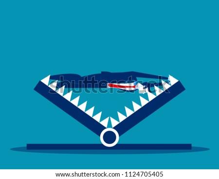 Businessman over mount trap. Concept business debt trap vector illustration, Trapped, Problem and Risk.