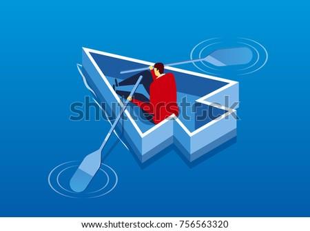 Businessman paddling arrows in water