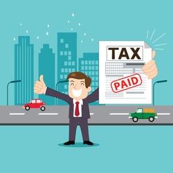Businessman paid tax, illustration vector cartoon