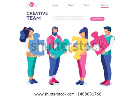 Businessman Partnership Style, Puzzle Metaphor, Jigsaw Connect. Match Concept for Web Banner Infographics Images. Flat Isometric Illustration Isolated on White Background
