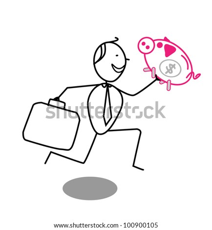 businessman & piggy bank