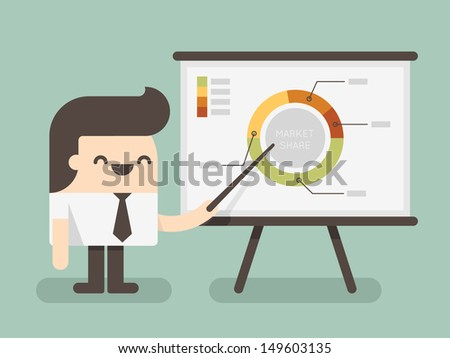 businessman  pointing at a board at a presentation