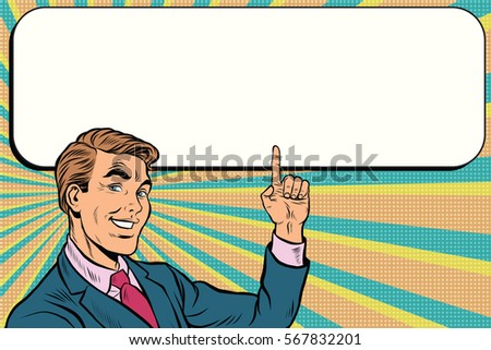 Businessman points up to copy space background, pop art retro vector. Beautiful promo man
