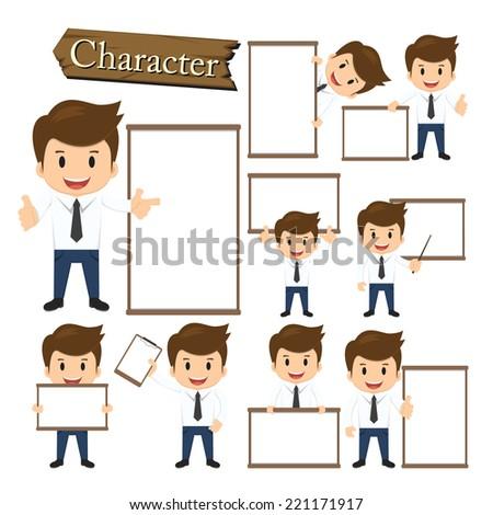 Businessman present whiteboard character set vector