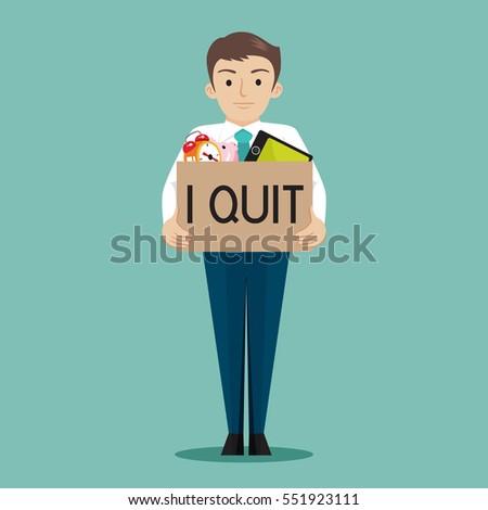 businessman presenting i quit