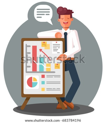 Businessman presenting marketing data on a presentation screen board explaining charts. Business seminar. Flat style vector illustration