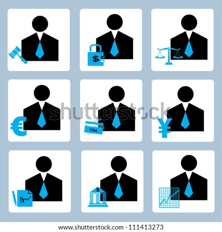 businessman, profile icon set, finance icon set