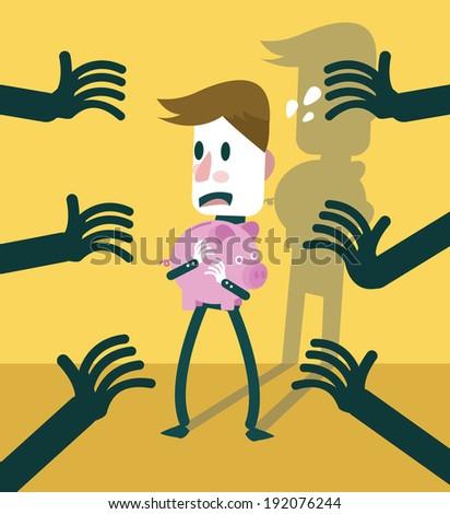 Businessman protect piggy bank form dark hands. business concept. vector