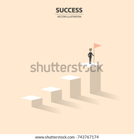 Businessman proudly stands on the top of graph columns. A concept of winner, success, motivation. Vector illustration.