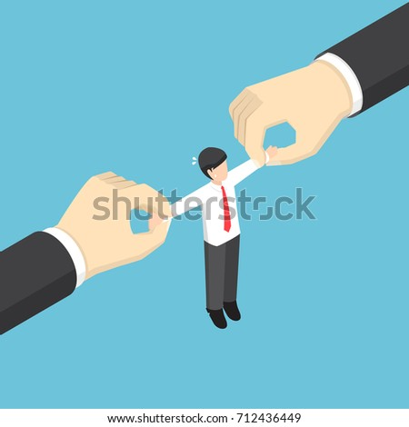 Shutterstock Businessman pulled by two big hand. Fight for talented employees. business competition and human resource concept.