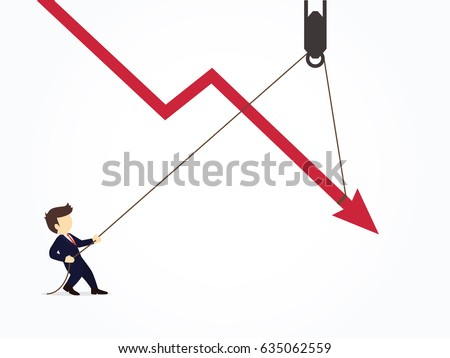 businessman pulling a falling